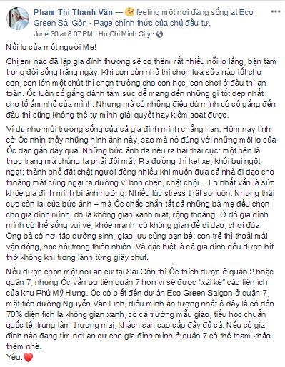 Nghệ sĩ Ốc Thanh Vân phấn khích chia sẻ về Eco Green Saigon. Ảnh: Vihomes.vn