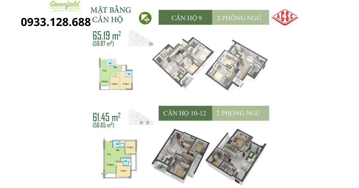 Mặt bằng căn hộ 9 và 10 tòa nhà Green Field Bình Thạnh Sài Gòn