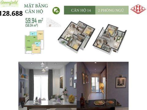 Mặt bằng căn hộ 14 và 10 tòa nhà Green Field Bình Thạnh HCM