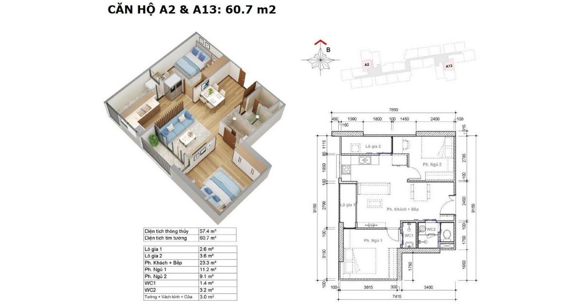 căn hộ mẫu A2 và A13 trong tòa nhà HR3