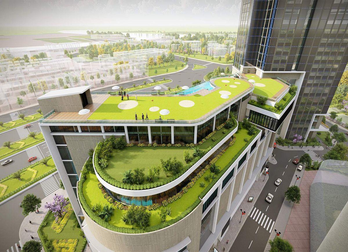 Tòa nhà thương mại diện tích sàn 4000m2, Tích hợp tiện ích nghĩ dưỡng sân thượng
