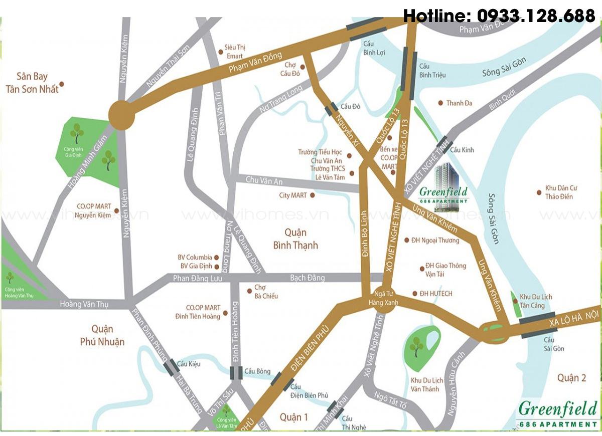 Từ GreenField có thể di chuyển dễ dàng tới những địa điểm trọng yếu của thành phố.
