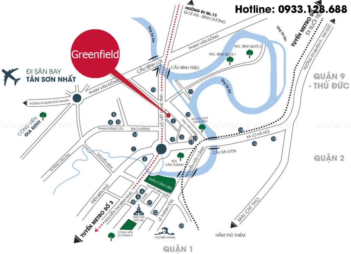 Vị trí khá đắc địa của căn hộ Greenfield 686 Bình Thạnh